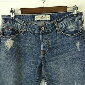 Hollister button fly distressed cropped jeans